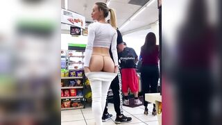 Flashing her Gstring at the shop