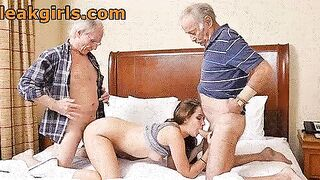 Teen Slut banged by Two Horny Grandpas - Couples