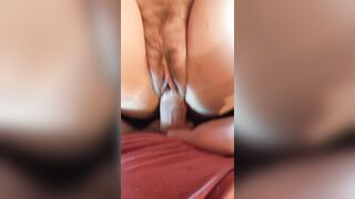 Beautiful hairy pussy soaks up the cum