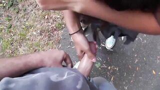 Girl Recieves A Facial in Public Park