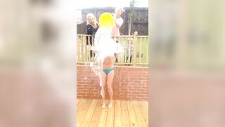 Topless ice-bucket challenge with family around? - Flashing And Flaunting