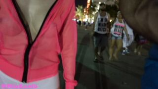 Flashing And Flaunting: Flashing my breasts with a see-though shirt that barely covered my nipps on a busy street