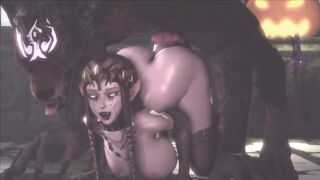 Corrupted Zelda getting fucked from behind by Wolf Link
