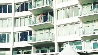 Filming on the balcony of our hotel in Xbiz Miami and this guy caught this interaction between me and one of the people who live at this hotel haha ??