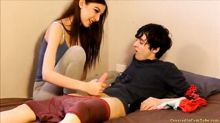 Sister gives brother happy ending after handjob