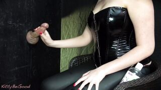 milking a cock for a cum explosion at the gloryhole - Girls Finishing The Job