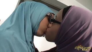 Gals Giving a kiss: Hijabs & Glasses