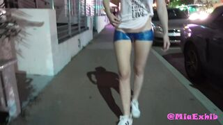 Walking on a busy street with bodypainted shorts!