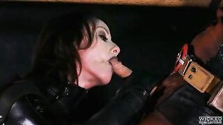 Jennifer White in full leather